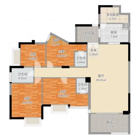 南山花园4室1厅3卫1厨178.00㎡户型图