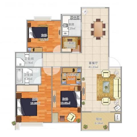 凯光中央华府4室2厅2卫1厨133.00㎡户型图