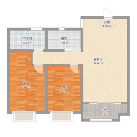 民生凤凰城2室2厅1卫1厨96.00㎡户型图
