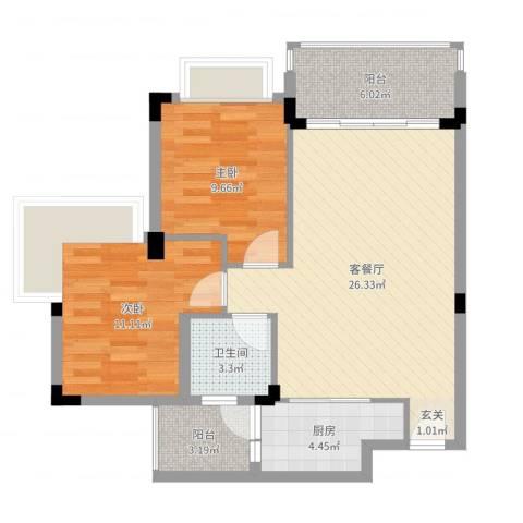 中惠郡庭2室2厅1卫1厨80.00㎡户型图