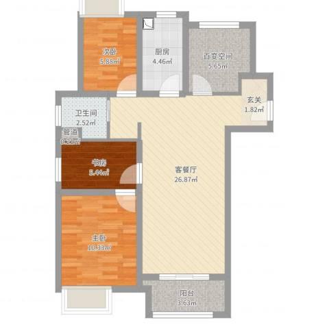 万科VC小镇3室2厅1卫1厨81.00㎡户型图