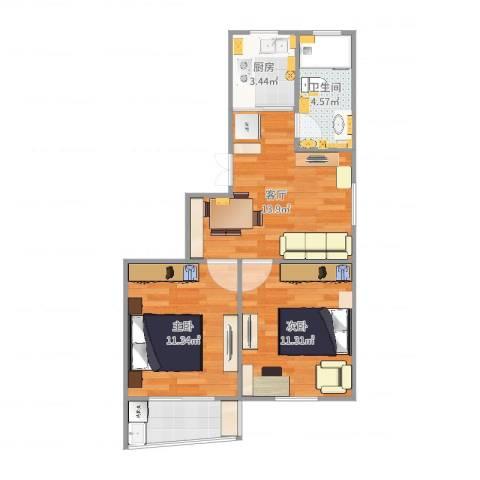 联勤小区2室1厅1卫1厨60.00㎡户型图