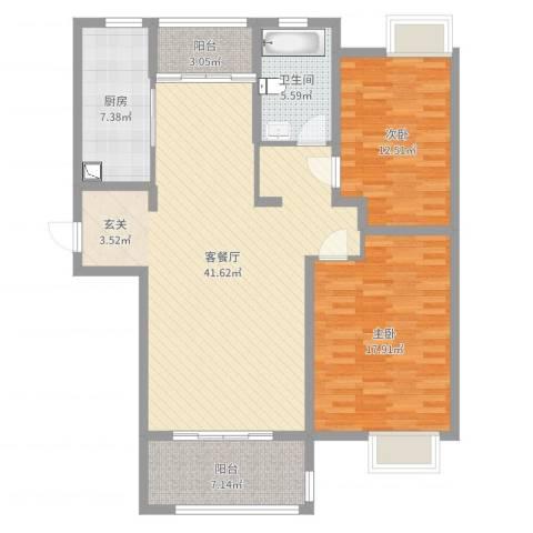 重汽翡翠东郡2室2厅1卫1厨119.00㎡户型图