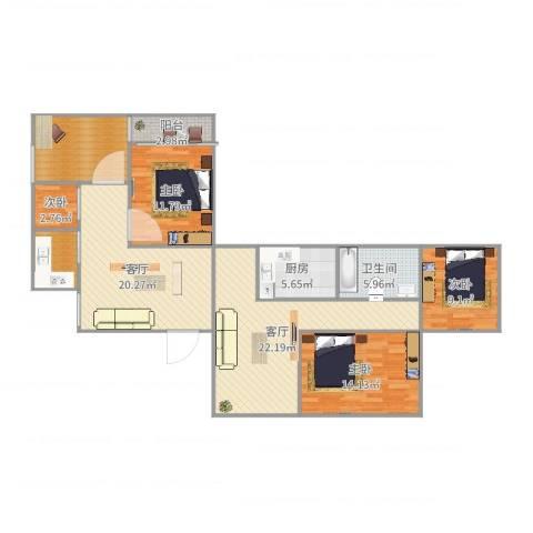 虹桥机场新村4室2厅1卫1厨134.00㎡户型图
