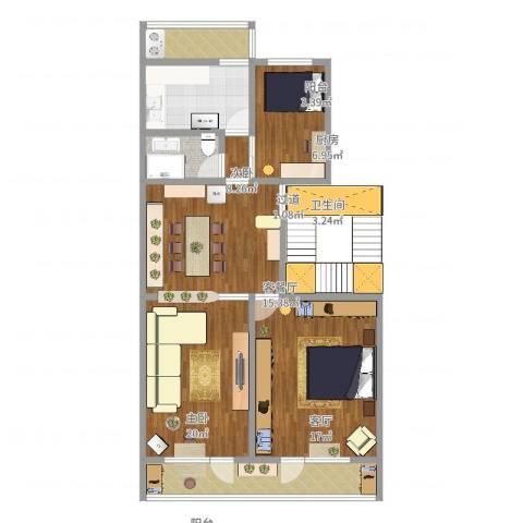 建国门内大街2室3厅1卫1厨104.00㎡户型图