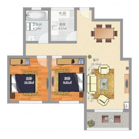 宝华海湾城2室1厅1卫1厨76.00㎡户型图