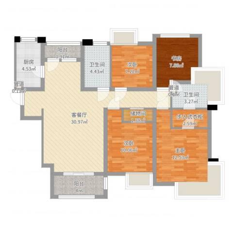 宝华海湾城4室2厅2卫1厨114.00㎡户型图