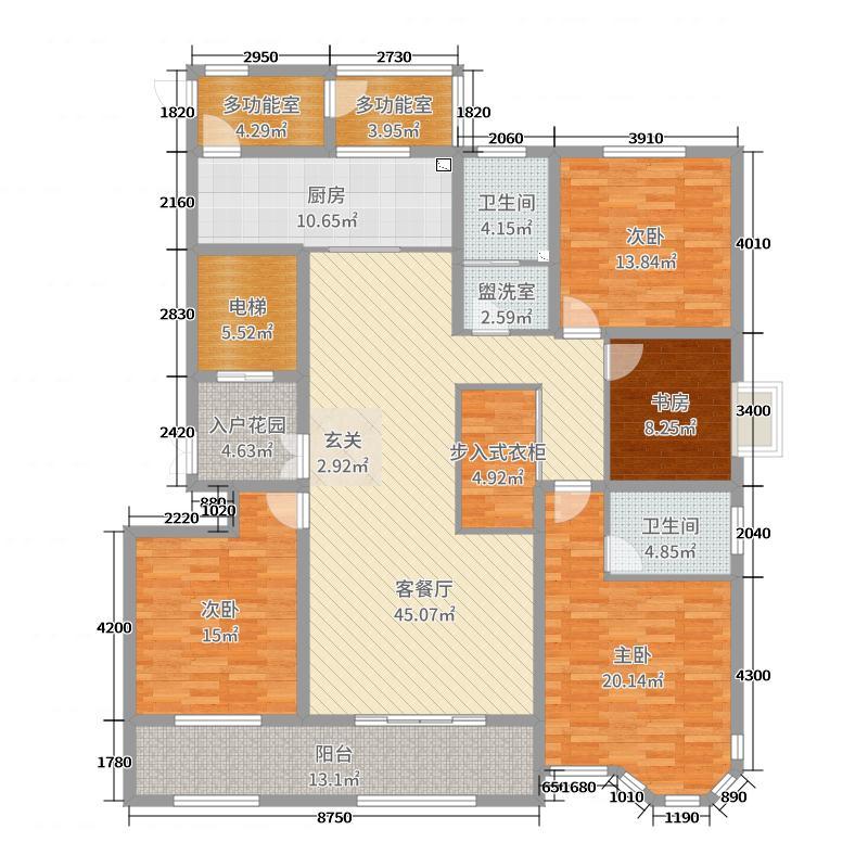 北美枫情197.73㎡三期高层17#E户型4室4厅2卫1厨