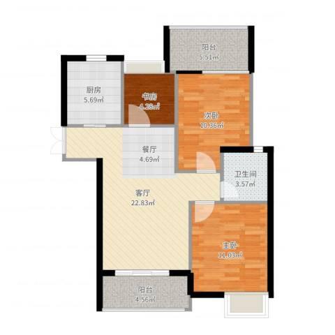 上东名筑3室1厅1卫1厨85.00㎡户型图