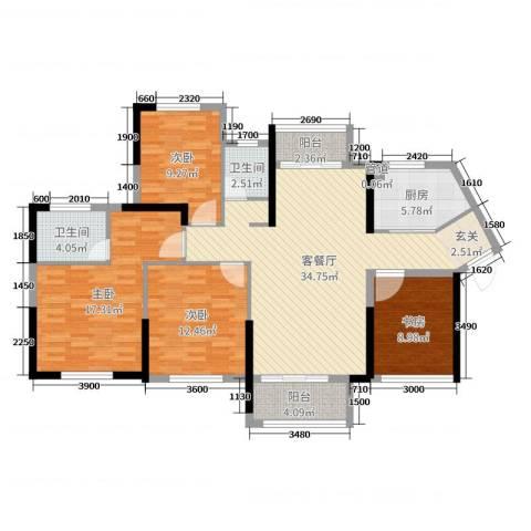 中航山水蓝天4室2厅2卫1厨132.00㎡户型图