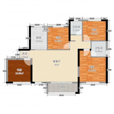 中航山水蓝天4室2厅2卫1厨121.00㎡户型图