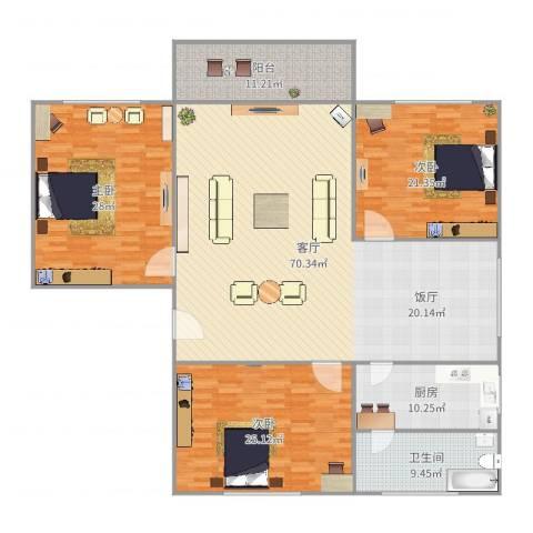 华文学院宿舍3室1厅1卫1厨176.00㎡户型图
