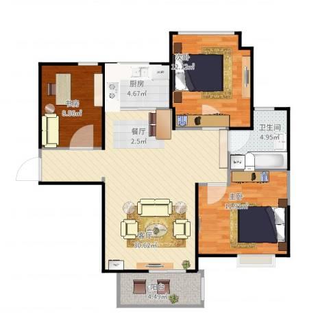 中铁滨湖名邸3室1厅1卫1厨104.00㎡户型图