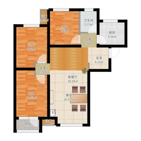 天成佳境3室2厅1卫1厨85.00㎡户型图