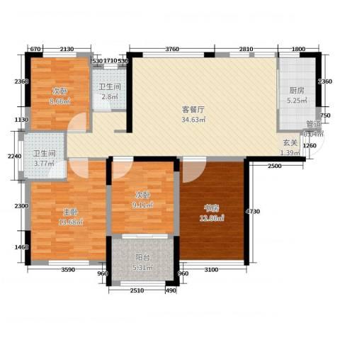 中航山水蓝天4室2厅2卫1厨114.00㎡户型图