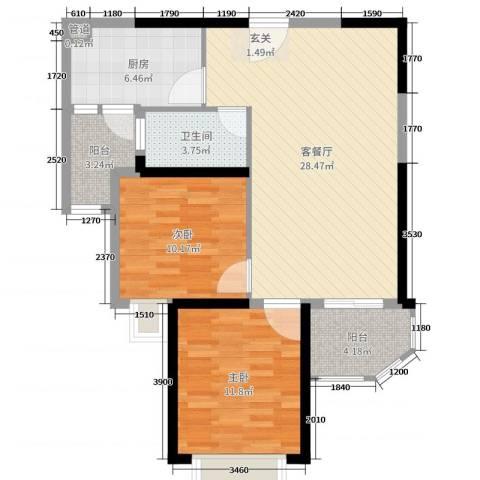 恒大御景2室2厅1卫1厨85.00㎡户型图