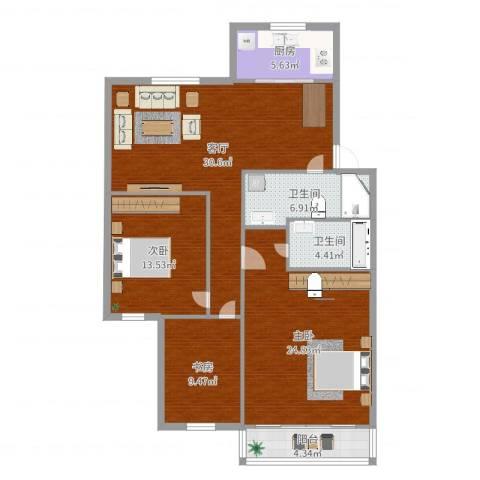 嘉州美都一期欢乐园3室1厅2卫1厨125.00㎡户型图