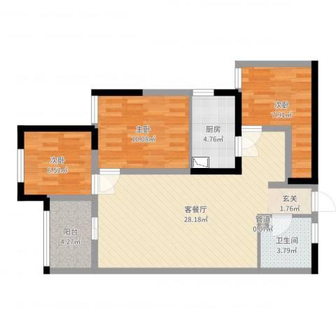 中鹤国际3室2厅1卫1厨82.00㎡户型图