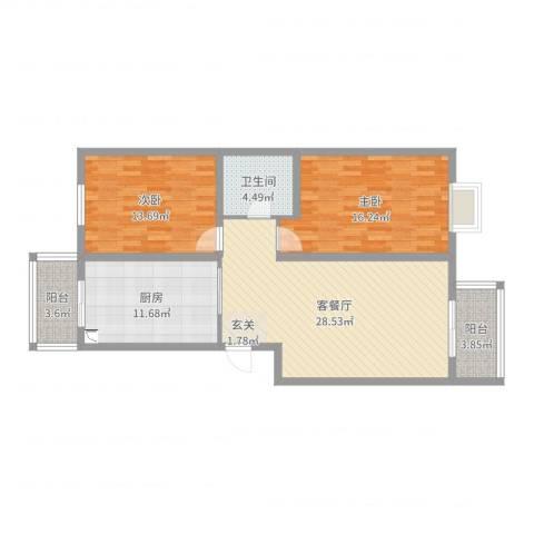 侯台碧水家园2室2厅1卫1厨103.00㎡户型图