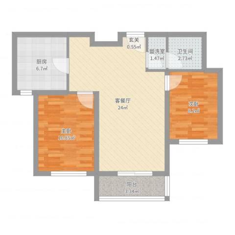 首创・象墅2室4厅1卫1厨72.00㎡户型图