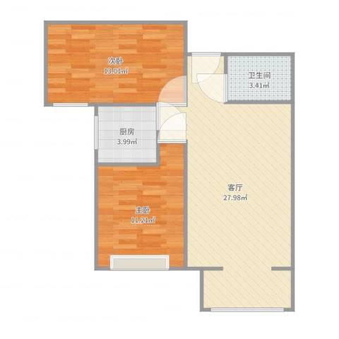 中城花溪畔2室1厅1卫1厨74.00㎡户型图