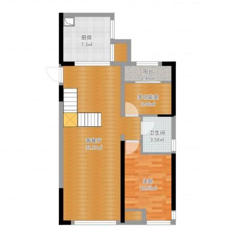 中铁城锦南汇1室2厅1卫1厨78.00㎡户型图