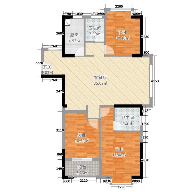 三盛托斯卡纳3期109.00㎡3期3#C4户型3室3厅2卫2厨