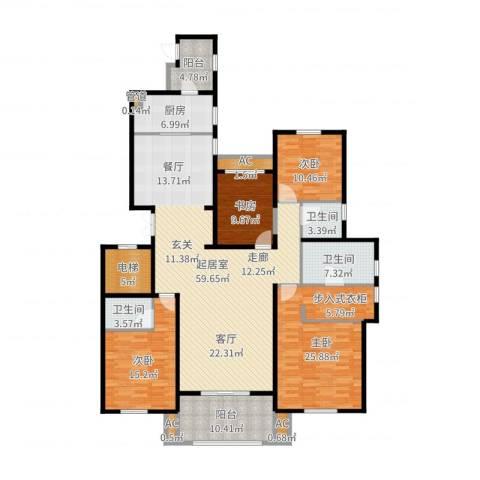 中海御湖1号4室1厅6卫2厨206.00㎡户型图