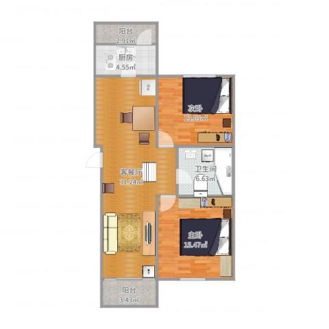 新世纪花苑三期2室2厅1卫1厨97.00㎡户型图