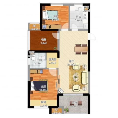 天正理想城3室1厅1卫1厨93.00㎡户型图