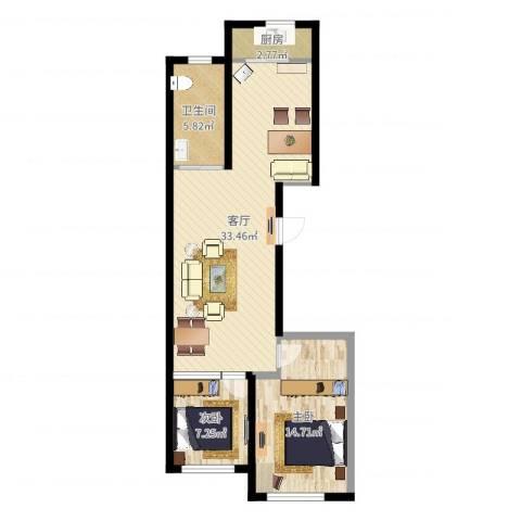 东港佳地花园二期2室1厅1卫1厨80.00㎡户型图