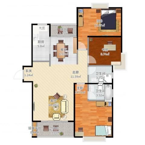 滨湖品阁3室2厅2卫1厨125.00㎡户型图