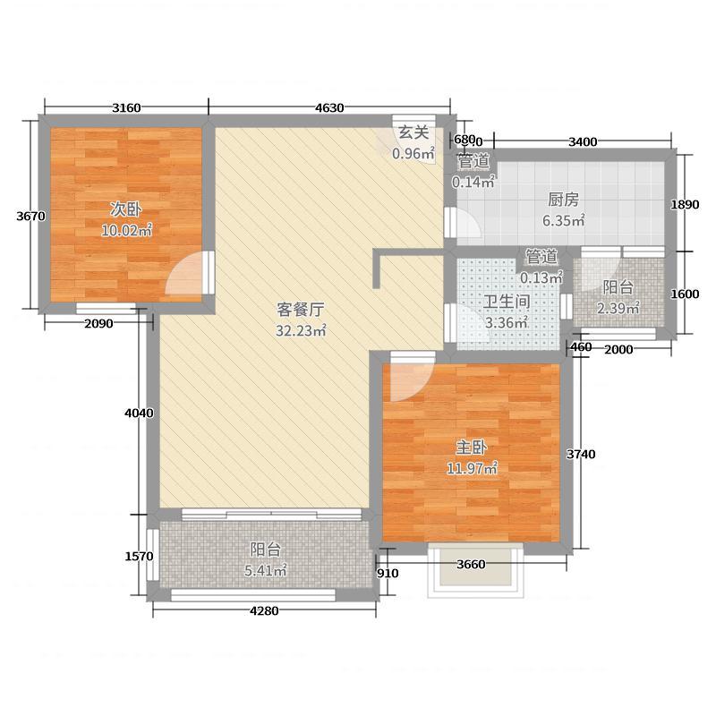 仁恒棠悦湾90.00㎡17#19#标准层B户型2室2厅1卫1厨