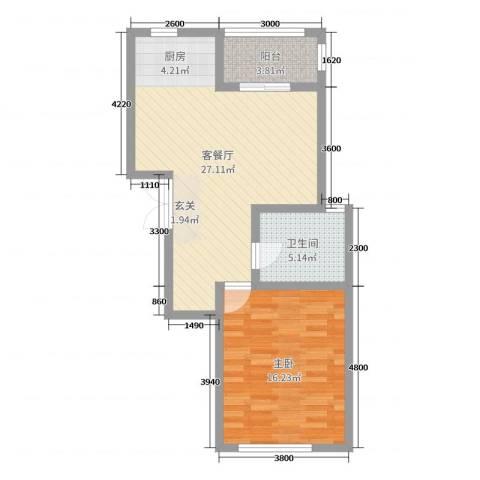 华通・国际城1室2厅1卫0厨69.00㎡户型图