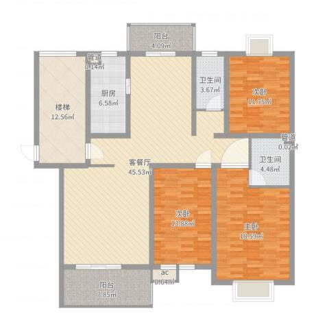 锦豪雍景园3室2厅2卫1厨162.00㎡户型图