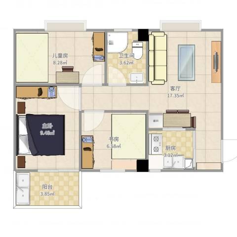 海新阳光公寓3室1厅1卫1厨65.00㎡户型图
