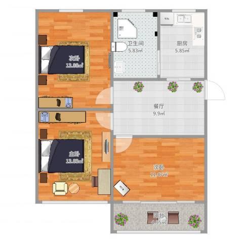 泰和新城3室1厅1卫1厨81.00㎡户型图