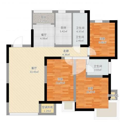 天房郦堂3室1厅2卫1厨106.00㎡户型图