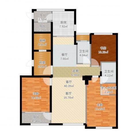 前程藏珑3室1厅2卫1厨151.00㎡户型图