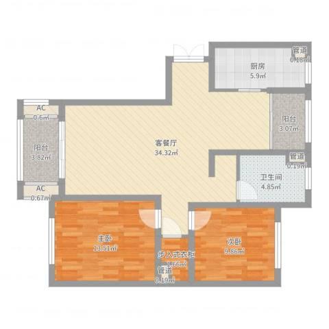 银洲皇家花园2室2厅1卫1厨99.00㎡户型图