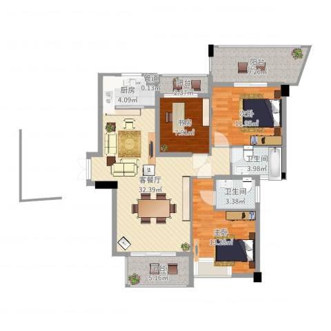 特房五缘尊府3室2厅2卫1厨117.00㎡户型图