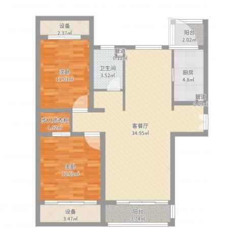 新公馆2室2厅1卫1厨101.00㎡户型图