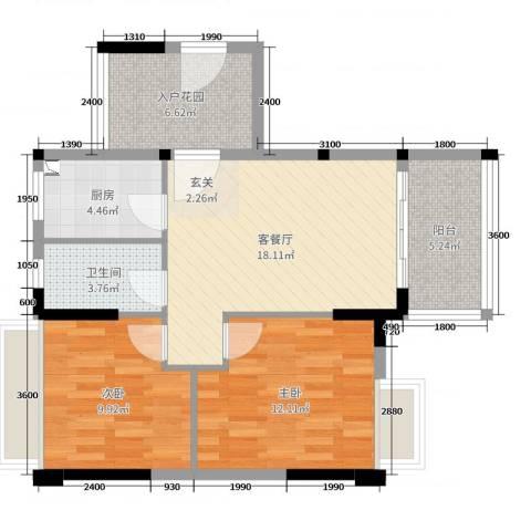 正德天水湖2室2厅1卫1厨75.00㎡户型图