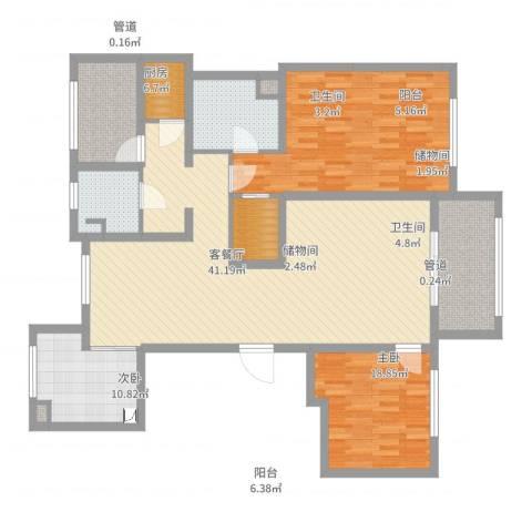 朗诗绿色街区2室2厅2卫1厨127.00㎡户型图