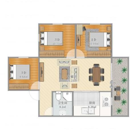 湖滨二里3室2厅1卫1厨95.00㎡户型图