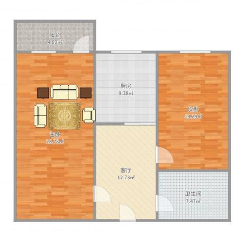 湖滨1号2室1厅1卫1厨102.00㎡户型图
