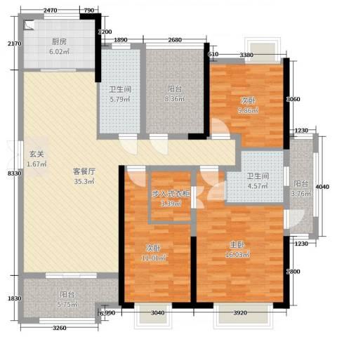 正荣财富中心3室2厅2卫1厨143.00㎡户型图