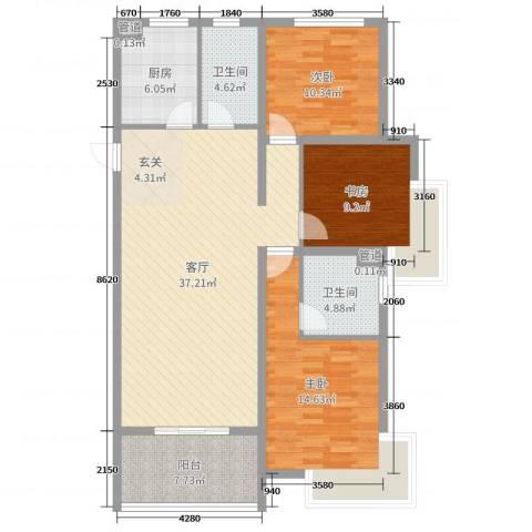 兴业春天二、三期3室1厅2卫1厨120.00㎡户型图
