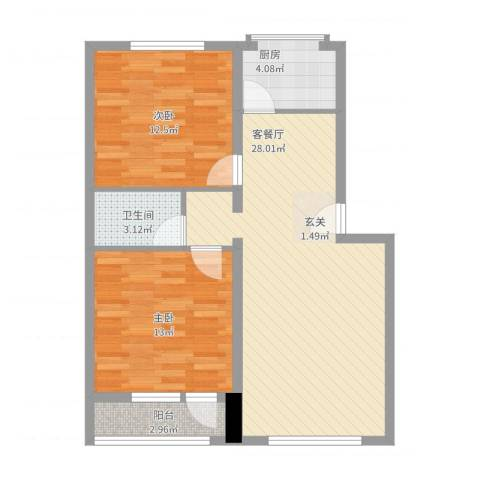 正安花园2室2厅1卫1厨91.00㎡户型图