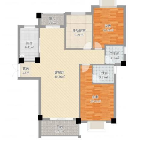 新新罗马家园2室2厅2卫1厨124.00㎡户型图